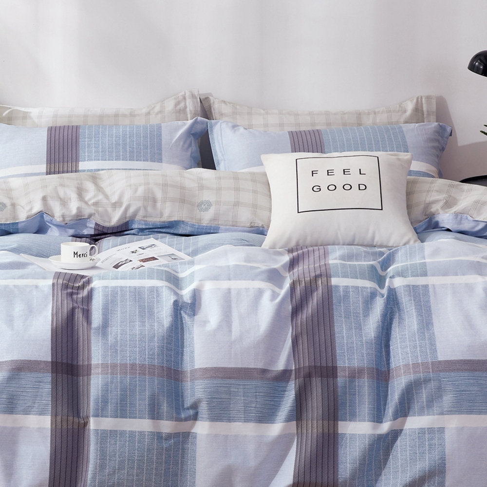 戀家小舖 / 單人床包枕套組 藍格物語 100%精梳純棉