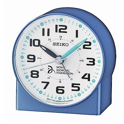 SEIKO 日本精工 滑動式秒針 靜音 小鬧鐘(QHE907L)-藍/8.2X7.8cm