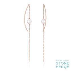 14K玫瑰金線型鋯石長耳飾
