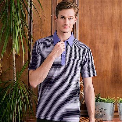 PAUL MAURIAT波爾.瑪亞吸溼排汗短袖POLO衫-紫橫紋 @ Y!購物