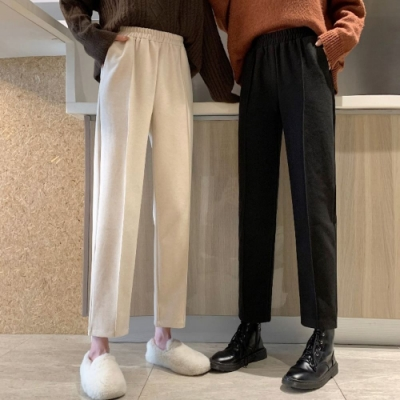 La Belleza素色鬆緊腰毛呢料側口袋中間壓摺線高腰直筒寬褲