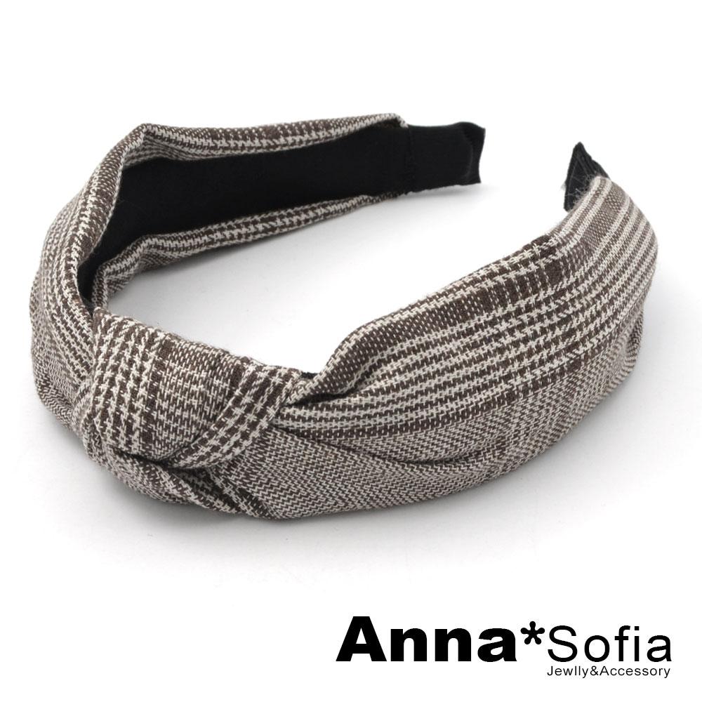 【滿520打7折】AnnaSofia 點細線格紋中央結 韓式寬髮箍(褐咖系)