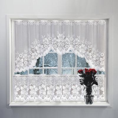 日創優品 歐美經典白色蕾絲短沙組合咖啡簾/窗簾/短廉/門簾