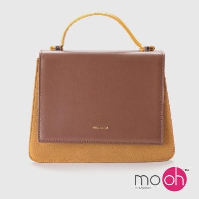 mo.oh-設計款簡約撞色斜背梯形包-黃棕色