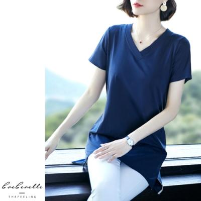 2F韓衣-韓系修身舒適V領造型上衣-3色(M-2XL)