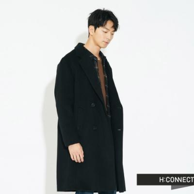 H:CONNECT 韓國品牌 男裝 - 俐落翻領羊毛大衣  - 黑