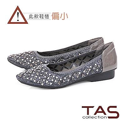 TAS 幾何水鑽造型氣質尖頭娃娃鞋-成熟灰