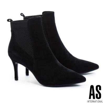 短靴 AS 異材質拼接羊麂皮素面尖頭高跟短靴-黑
