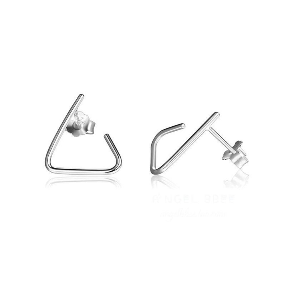 米蘭精品 925純銀耳環-三角形幾何線條耳環