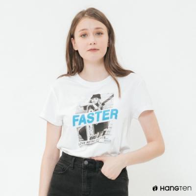Hang Ten - 女裝 - 有機棉-個性圖片短T - 白