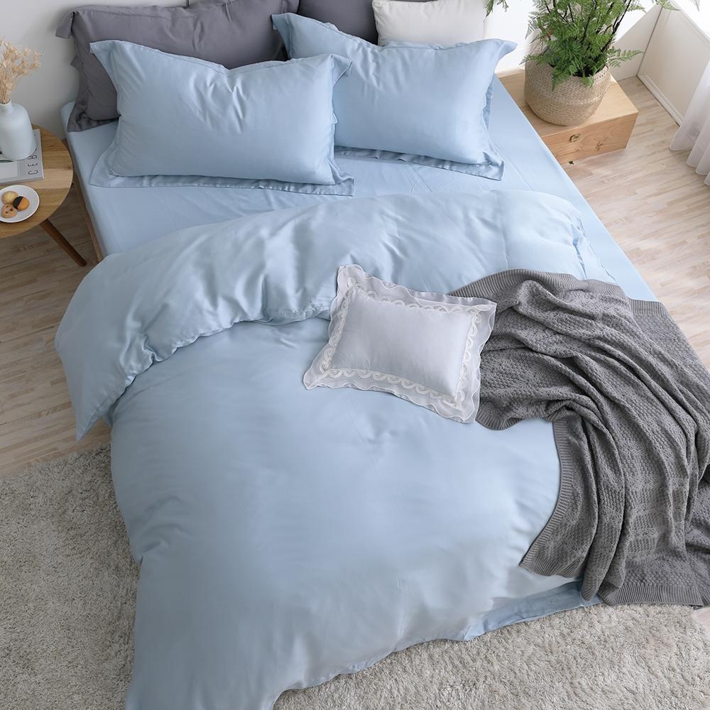 【HOYACASA】法式簡約300織抗菌天絲兩用被床包組-(雙人/加大任選)+贈兩枕 (運河藍)