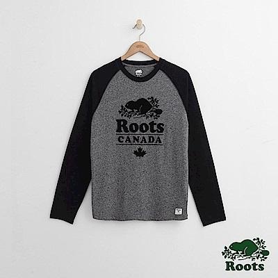 Roots 男裝-度假小屋短長袖T恤-灰色
