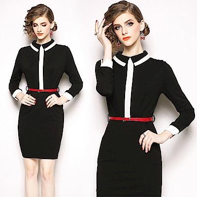 DABI 歐美風時尚簡約撞色時尚修身長袖洋裝