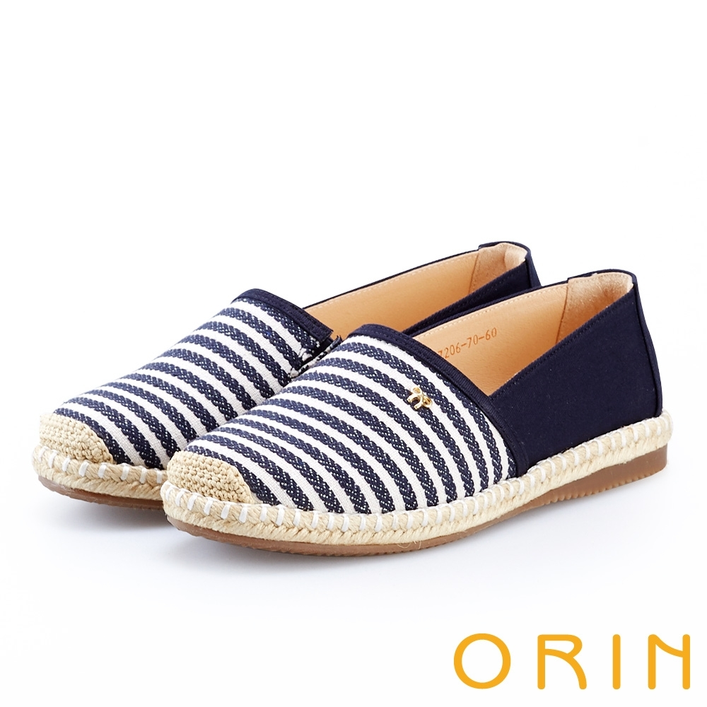 ORIN 引出度假氣氛 表面特殊條紋布休閒便鞋-藍色