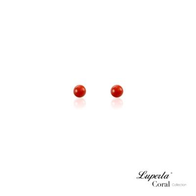 大東山珠寶 天然全紅沙丁珊瑚 3-4mm 針式貼耳耳環