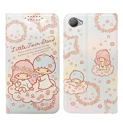 三麗鷗授權 HTC Desire 12 粉嫩系列彩繪磁力皮套(花圈)