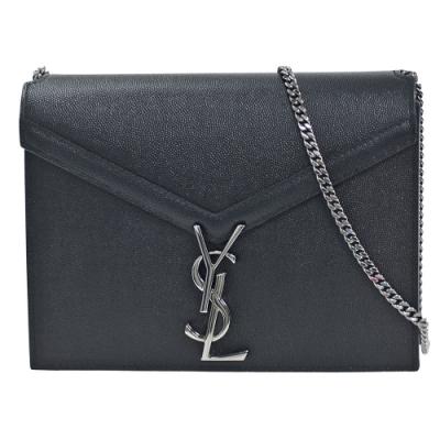 YSL 經典CASSANDRA系列粒紋小牛皮銀色金屬LOGO鍊帶背包(黑)