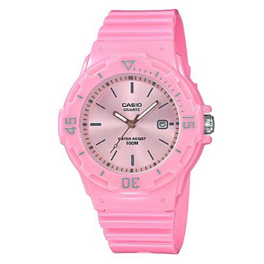 CASIO 簡約錶盤潛水風指針運動錶(LRW-200H-4E4)香檳粉面x粉紅/32mm