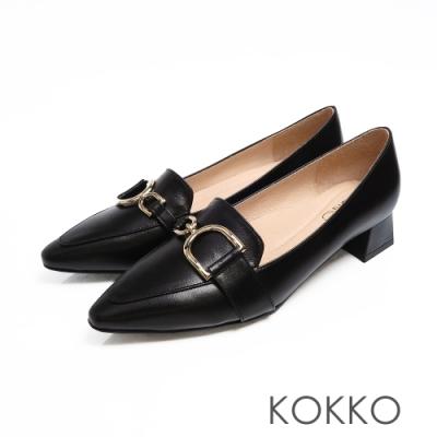 KOKKO - 千言萬語金扣真皮尖方頭鞋-深邃黑