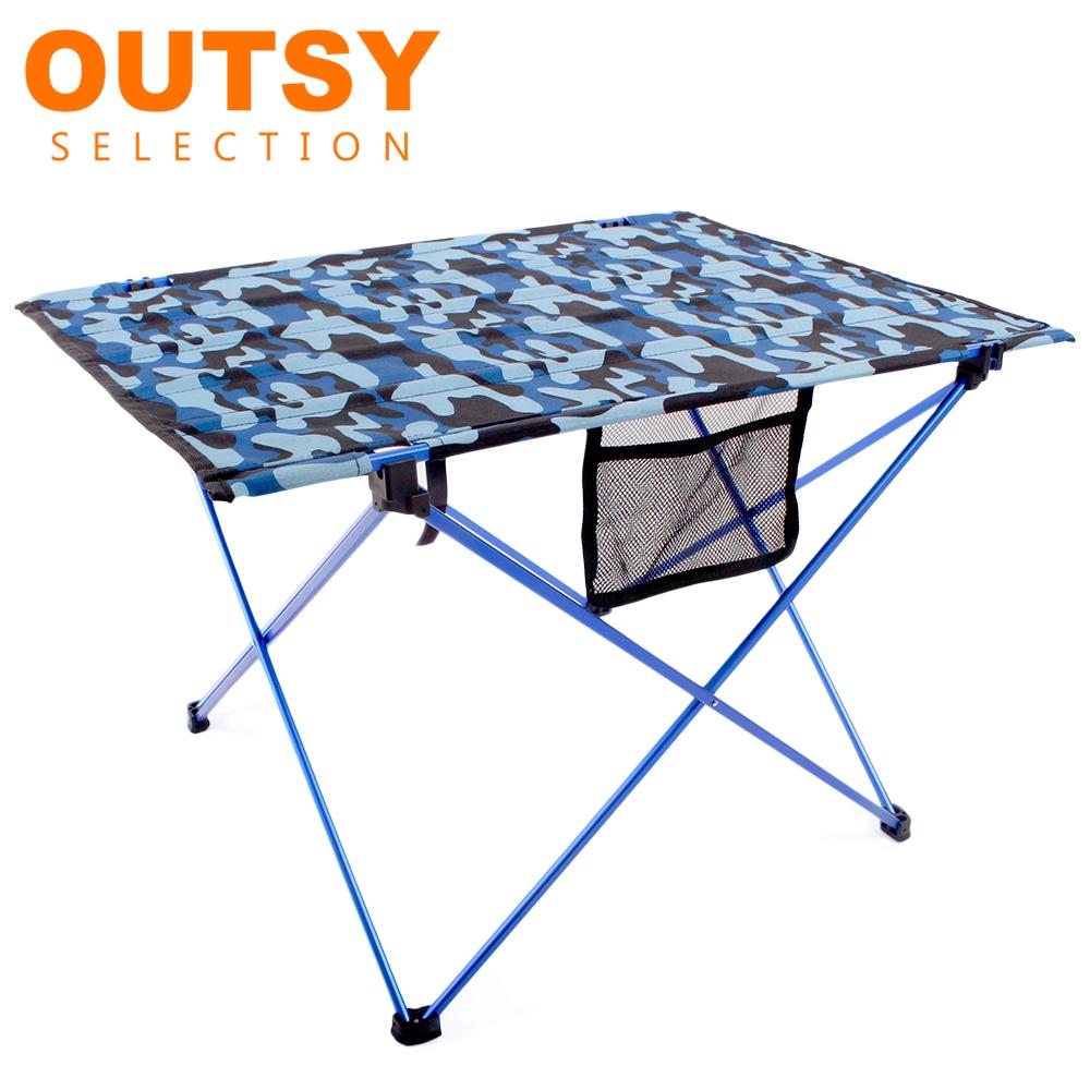 【OUTSY嚴選】航太級鋁合金超輕量布折疊桌/布蛋捲桌 (藍黑數位迷彩)