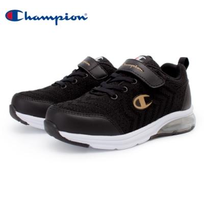 【Champion】ELASTIC NET 氣墊運動童鞋 飛織網布 大童鞋-黑(KSUS-0367-18)