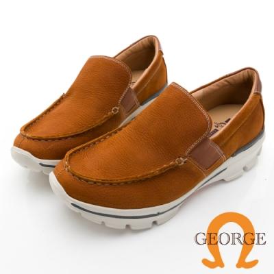 GEORGE 喬治皮鞋輕量系列 超輕牛皮立體縫線鬆緊帶休閒鞋 -淺咖118006HK