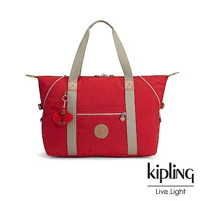 Kipling 亮眼紅撞色手提側背包-ART M-ESSENTIAL系列
