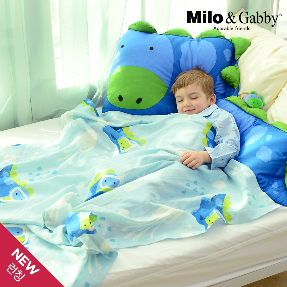 Milo&Gabby動物好朋友-超透涼LINEN空氣毯-盛夏海洋限量版(Dylan恐龍)