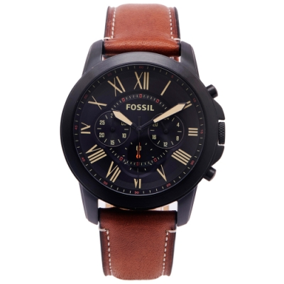 FOSSIL 羅馬優雅風計時的皮帶手錶(FS5241)-黑面X咖啡色/44mm