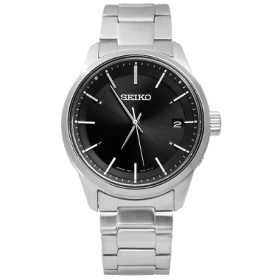 SEIKO 精工 SPIRIT 電波修正 太陽能 藍寶石水晶 不鏽鋼手錶-黑色/40mm