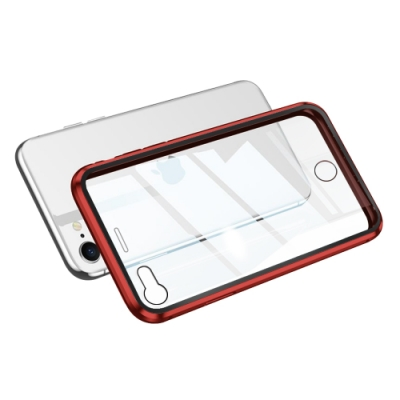 iPhone SE 2020 金屬 透明 全包覆 磁吸雙面玻璃殼 手機殼 保護殼 保護套-iSE 2020-紅色*1