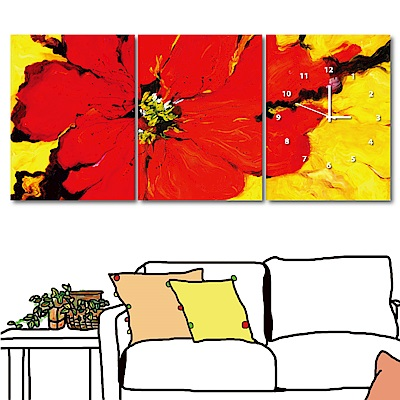 美學365 三聯式直幅 無框掛畫時鐘-紅花30x40cm