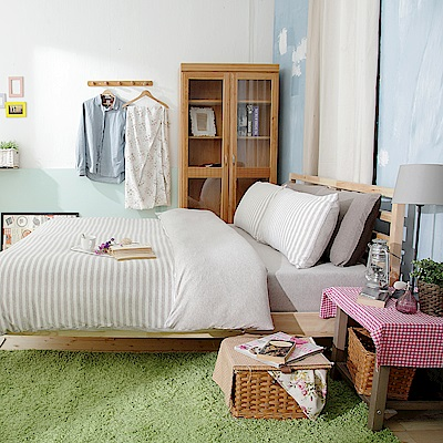 Saint Rose 品味空間-淺灰 100%純棉針織單人被套一入