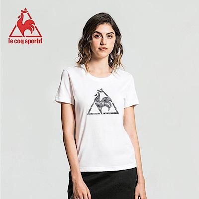 le coq sportif 法國公雞牌經典圓領LOGO印花短袖T恤 女-白
