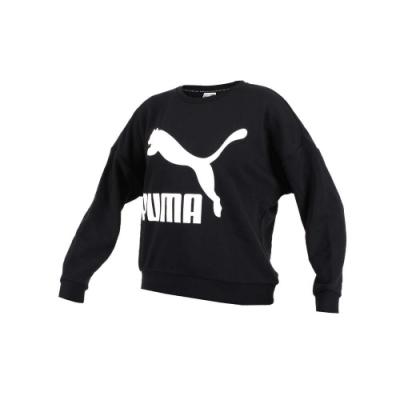 PUMA 女流行系列長袖圓領T恤-長T 短版 長袖上衣 黑白