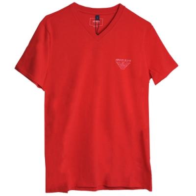 ARMANI JEANS 義大利製品牌LOGO圖騰V領T恤(紅)