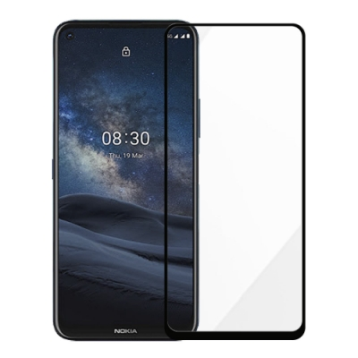 Metal-Slim Nokia 8.3 5G 全膠滿版9H鋼化玻璃貼-晶鑽黑