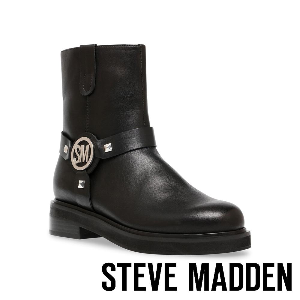STEVE MADDEN-MOTTAR 品牌LOGO鉚釘造型短靴-黑色