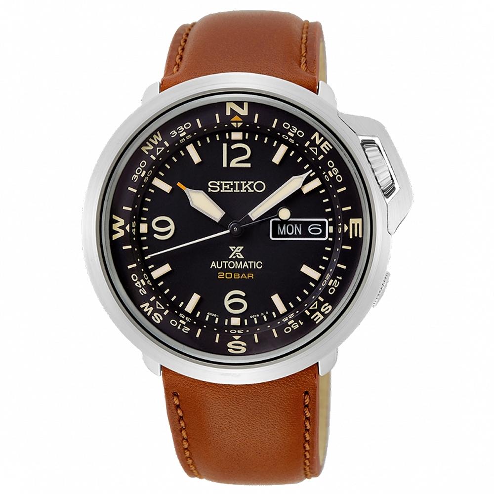 SEIKO 精工PROSPEX經典復古真皮機械錶SRPD31J1-黑X咖啡/43mm