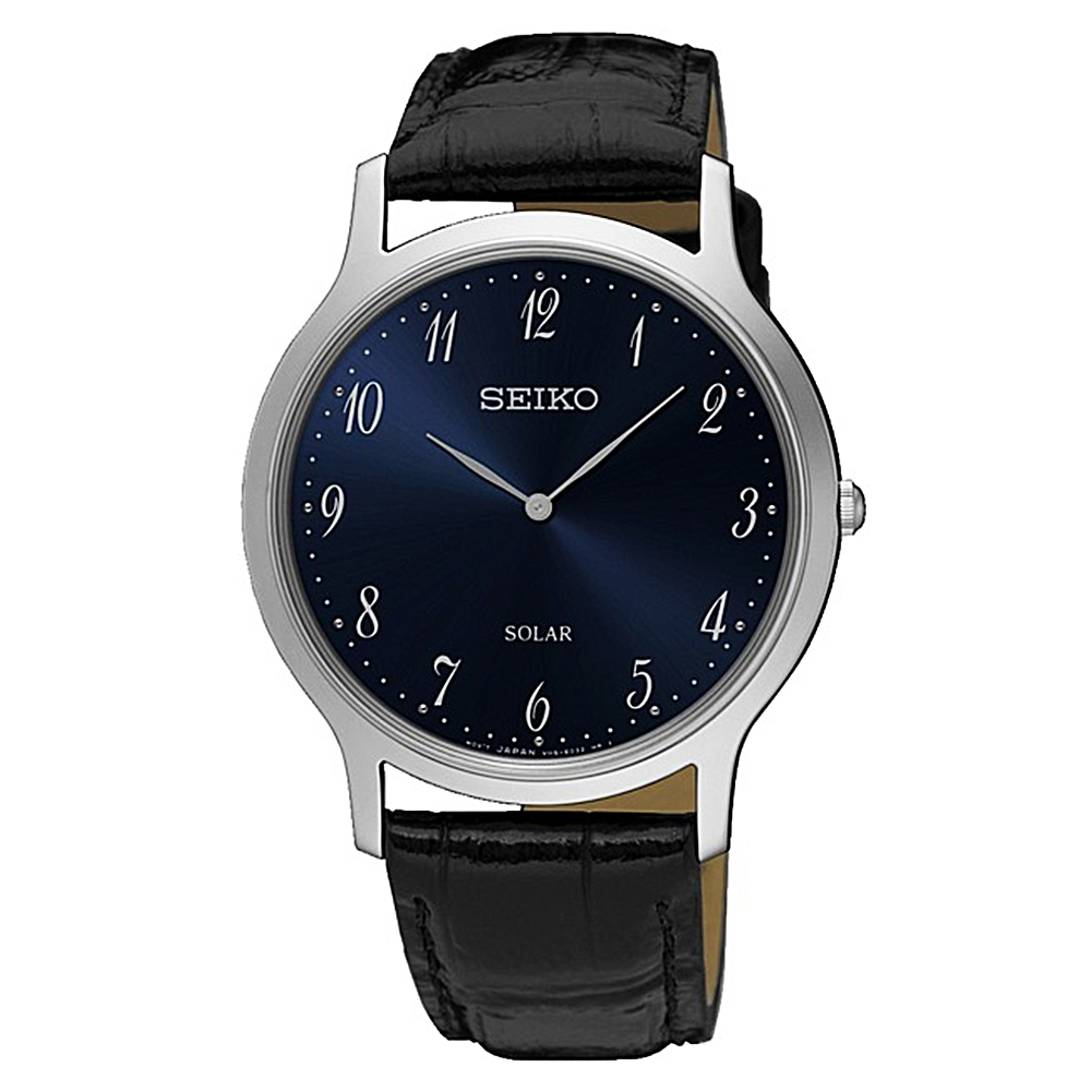 SEIKO精工   簡約爾雅超薄太陽能石英腕錶(SUP861P1)-黑x38mm