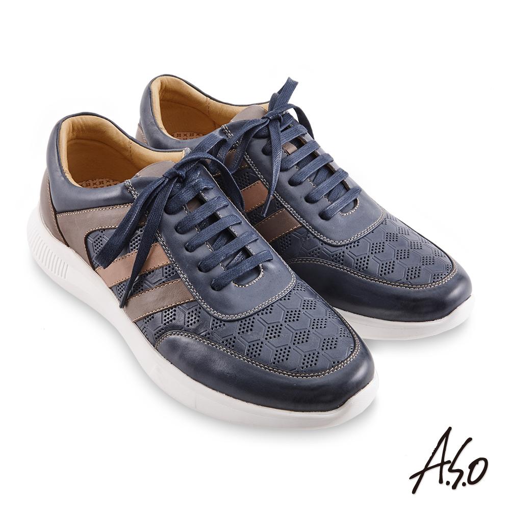 A.S.O機能休閒 3D超動能幾何壓紋綁帶休閒鞋-深藍