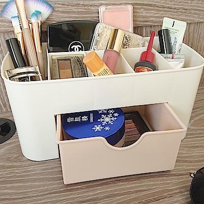 樂嫚妮 多格桌面收納盒/辦公/抽屜/化妝品/首飾收納-3入粉
