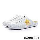 HANNFORT CALIFORNIA童趣塗鴉帆布休閒穆勒鞋-女-潮流白