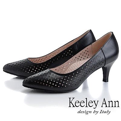 Keeley Ann慵懶盛夏 菱形鏤空美型中跟包鞋(黑色)