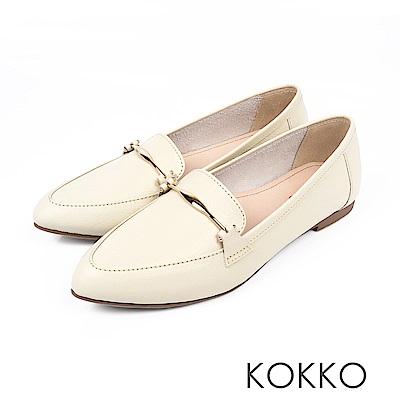 KOKKO - 男朋友風潮真皮尖頭休閒鞋 - 實搭米