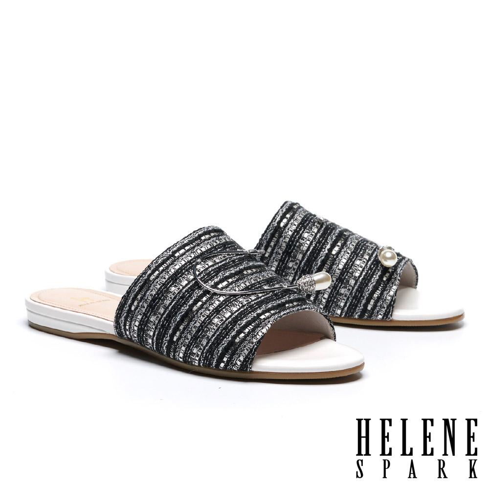 拖鞋 HELENE SPARK 復古時髦水滴珍珠晶鑽條紋布拖鞋-黑