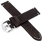 海奕施 HIRSCH Ranger L質感縫線小牛皮手錶帶-深棕