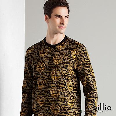 歐洲貴族 oillio 長袖T恤 滿版圖樣 亮眼虎紋 黃色