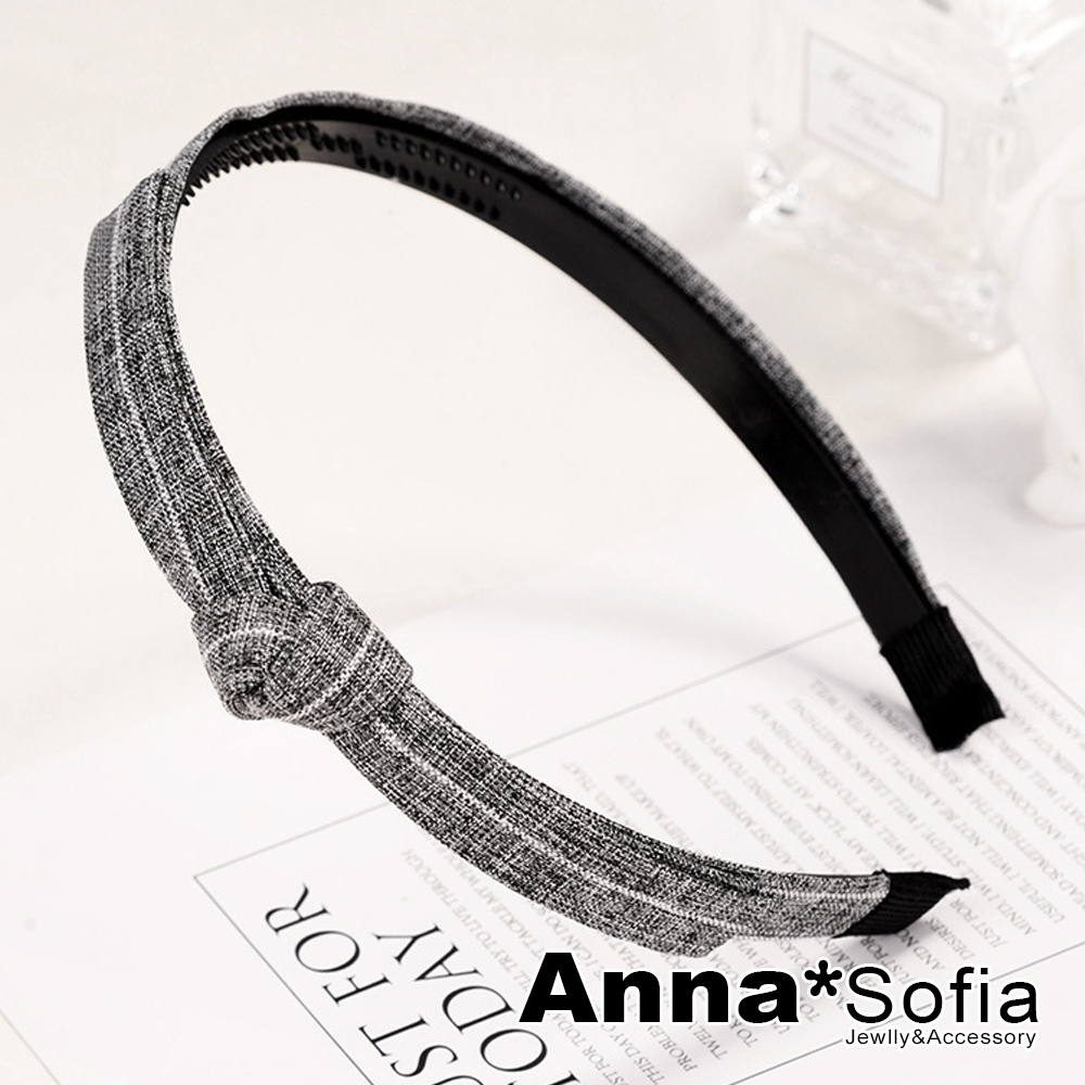 AnnaSofia 文藝側綁長結 韓式東大門髮飾髮箍(灰系)
