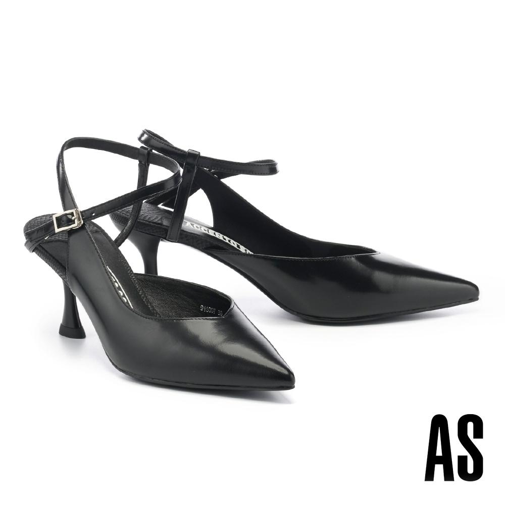 高跟鞋 AS 極簡性感繞踝帶牛皮尖頭高跟鞋-黑